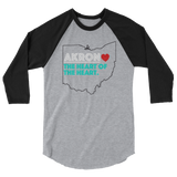 Akron Heart 3/4 Sleeve Raglan Shirt