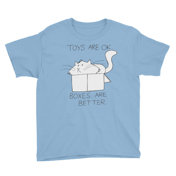 "CHUM THE CAT ""BOXES ARE BETTER"" Hand drawn design. Youth Short Sleeve T-Shirt - We Care Tees"
