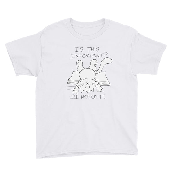 "CHUM THE CAT ""I'LL NAP ON IT"" Hand drawn design. Youth Short Sleeve T-Shirt - We Care Tees"