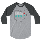 Akron Heart 3/4 Sleeve Raglan Shirt - We Care Tees