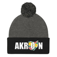 Beautiful Akron 2 Embroidered Pom Pom Knit Beanie Cap - We Care Tees