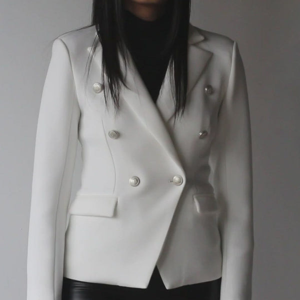 Women's White Slim Fit Blazer