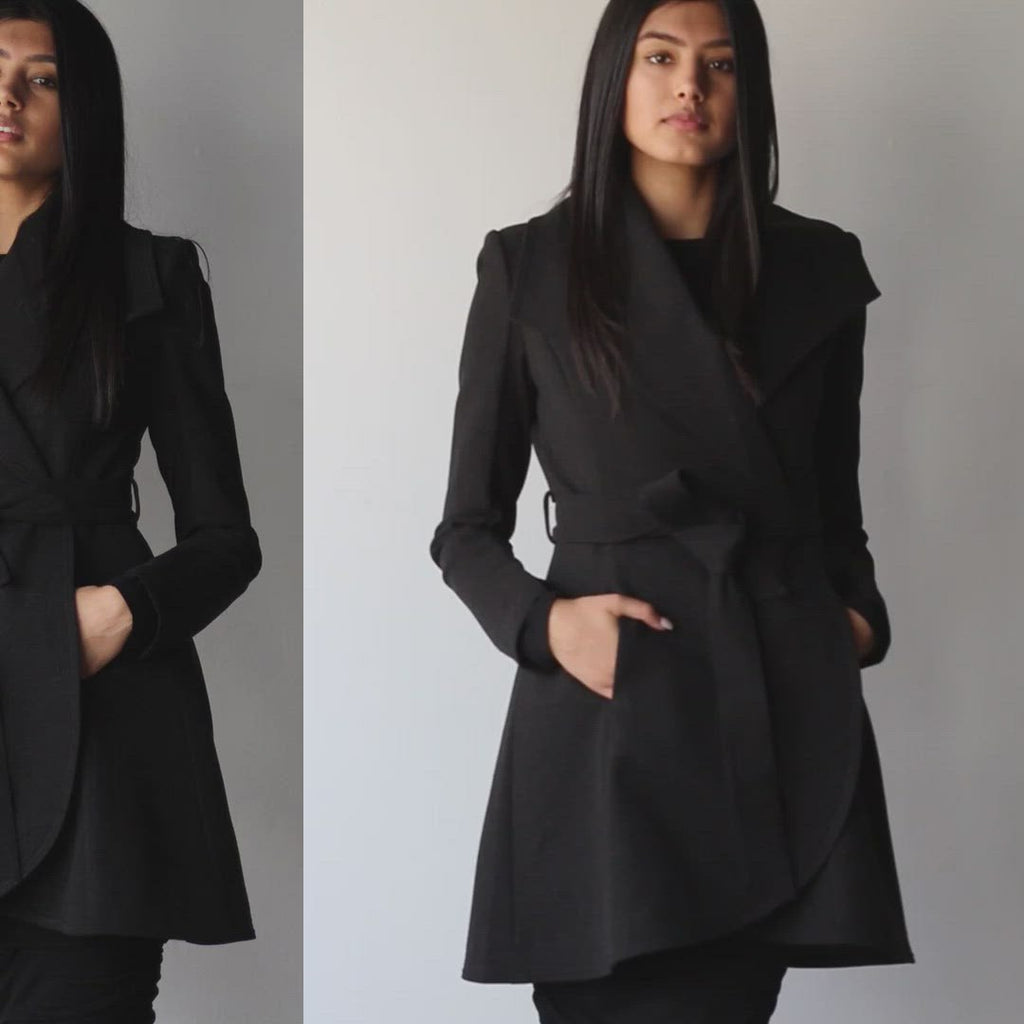Ladies Belted Curved Edge Mid Length Tailored Jacket