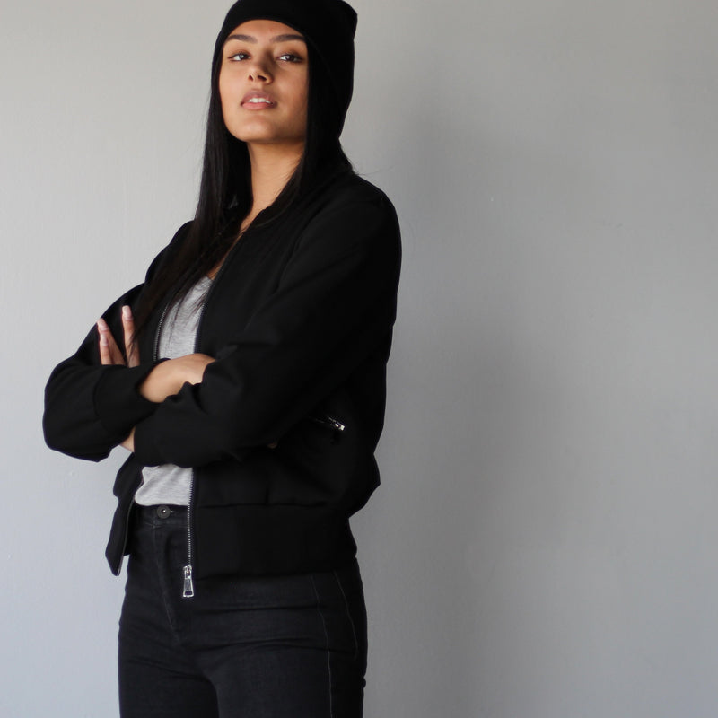 Women's Black Casual Bomber Jacket