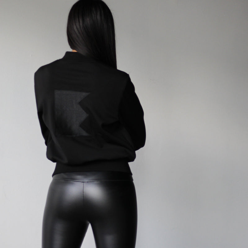 Women's Black Bomber Jacket Back