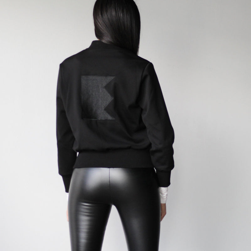Women's Black Bomber Jacket Back Logo