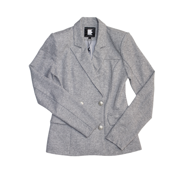 Women's Light Grey Double Breasted Fitted Blazer Jacket