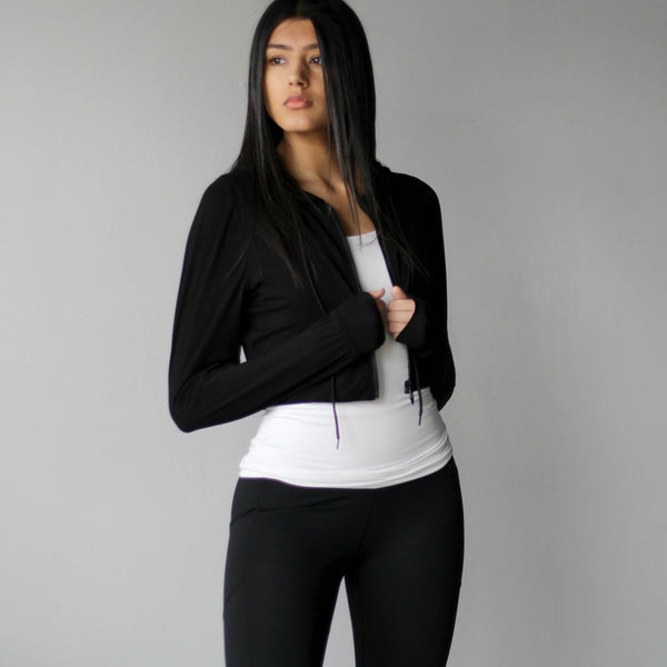 Women's Cropped Black Zip-up Hoodie