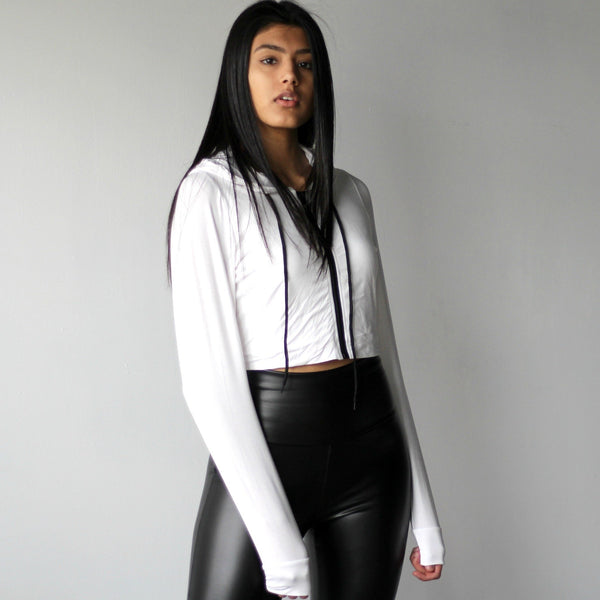 Women's White Cropped Athletic Sports Hoodie
