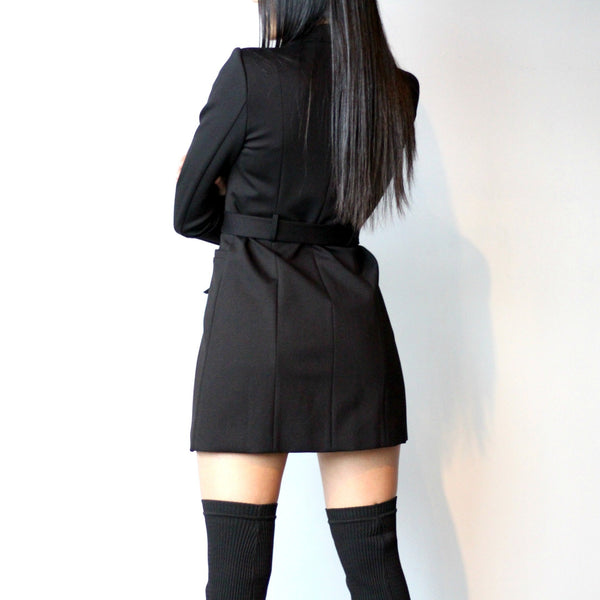 Women's Black Tie Front Blazer Dress Jacket Back