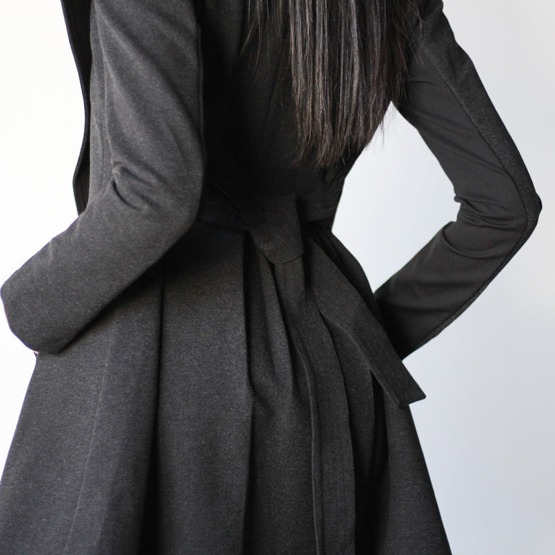 Women's Black Belted Curved Edge Mid Length Tailored Jacket Back