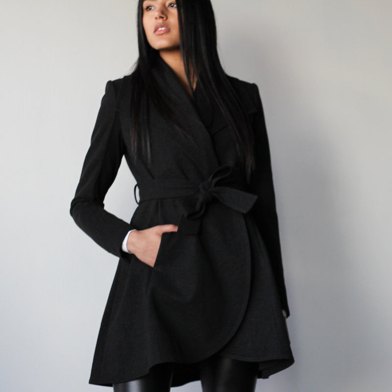 Ladies Black Belted Curved Edge Mid Length Tailored Jacket