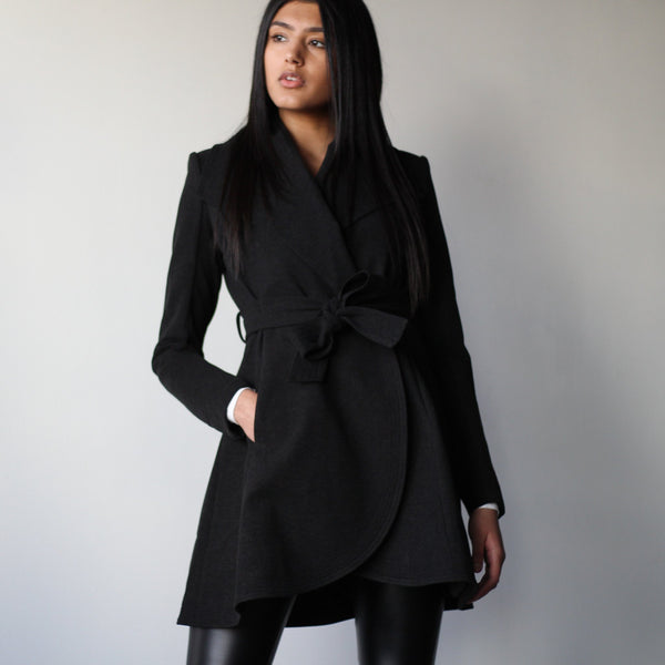 Ladies Tie-Front Curved Edge Mid Jacket