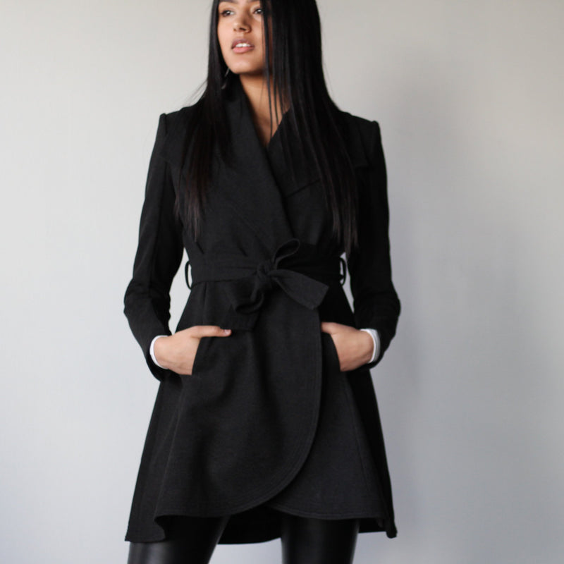 Women's Black Belted Curved Edge Mid Length Tailored Jacket