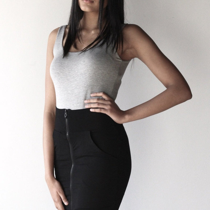 Double Layer Zipper Pencil Skirt