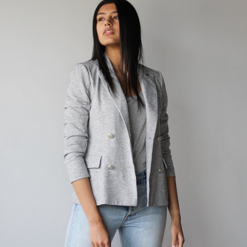 Ladies Light Grey Double Breasted Fitted Blazer Jacket