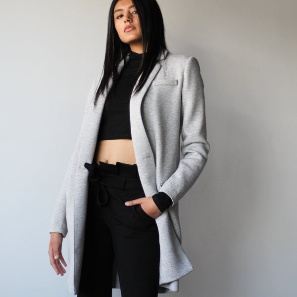 Women's Light Grey Tailored Mid Length Blazer Jacket