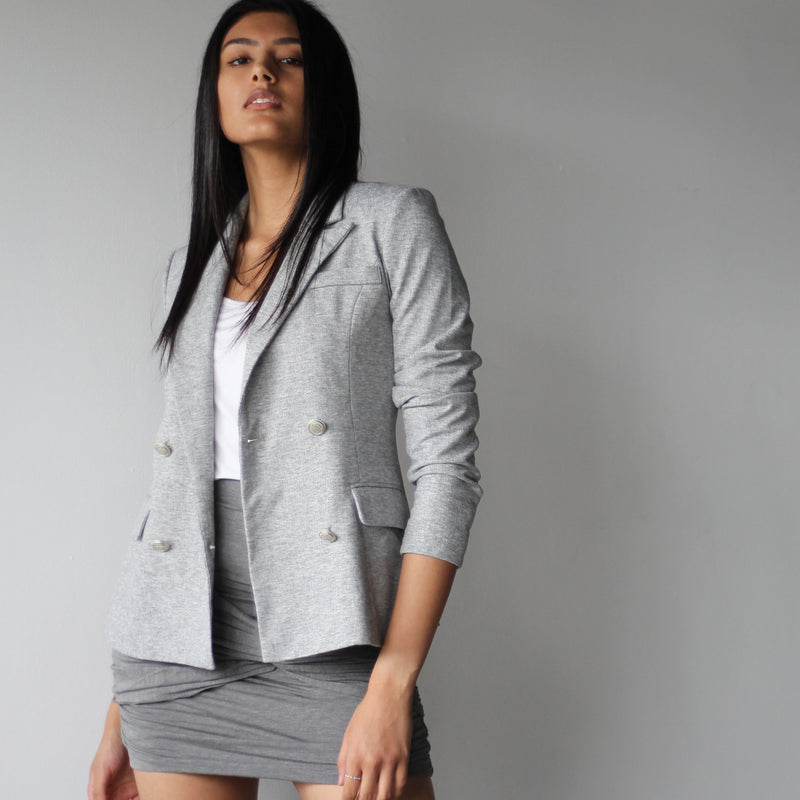 Ladies Light Grey Double Breasted Fitted Blazer