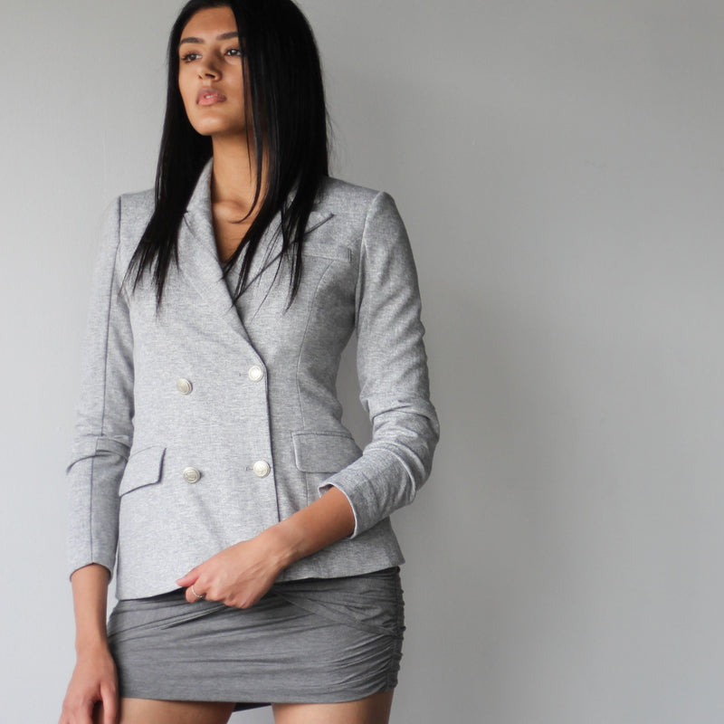 Women's Light Grey Double Breasted Fitted Blazer