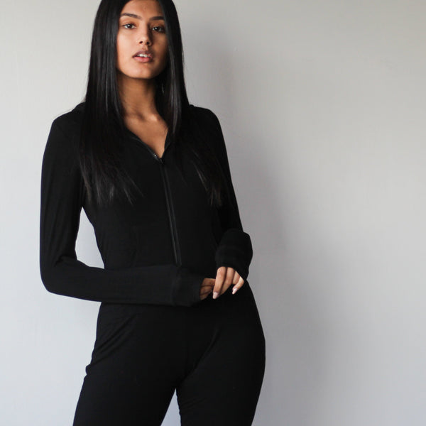 Women's Black Soft Fabric Onsie