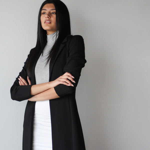 Women's Black Long Tailored Jacket