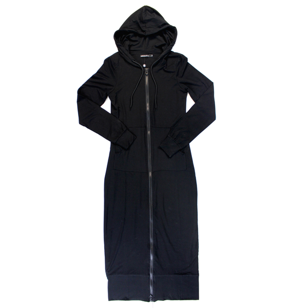 Ladies Black Long Zip-Up Hoodie Dress