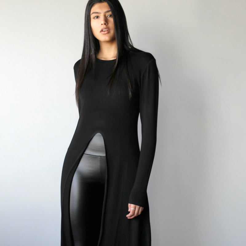 Women's Black Long-Sleeve Front Slit Top