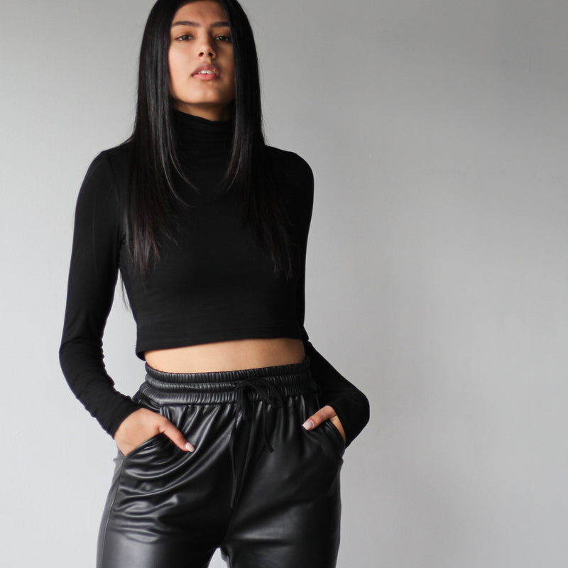 Women's Black Pleather Joggers