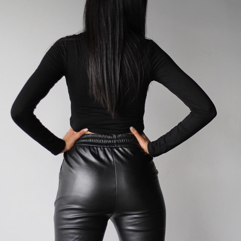 Ladies Black Faux Leather Joggers