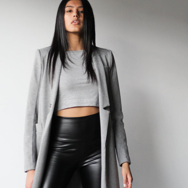 Ladies Light Grey Tailored Long Length Blazer Jacket