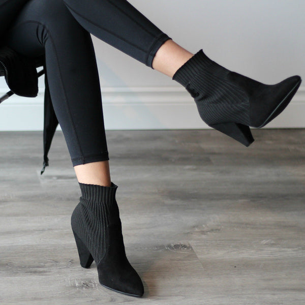 Women's Black Heeled Stretch Ankle Boot