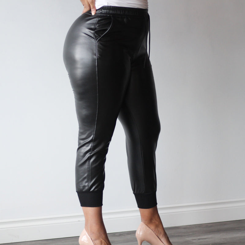 Women's Black Pleather Drawstring Joggers