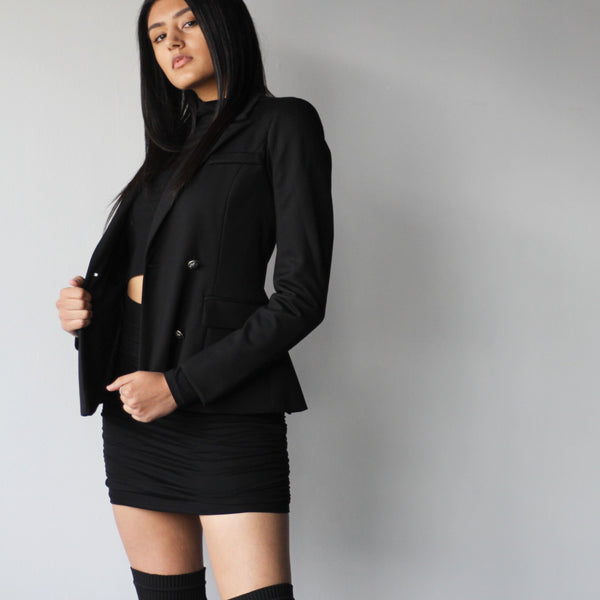 Women's Classic Double Breasted Stretch Fitted Black Blazer