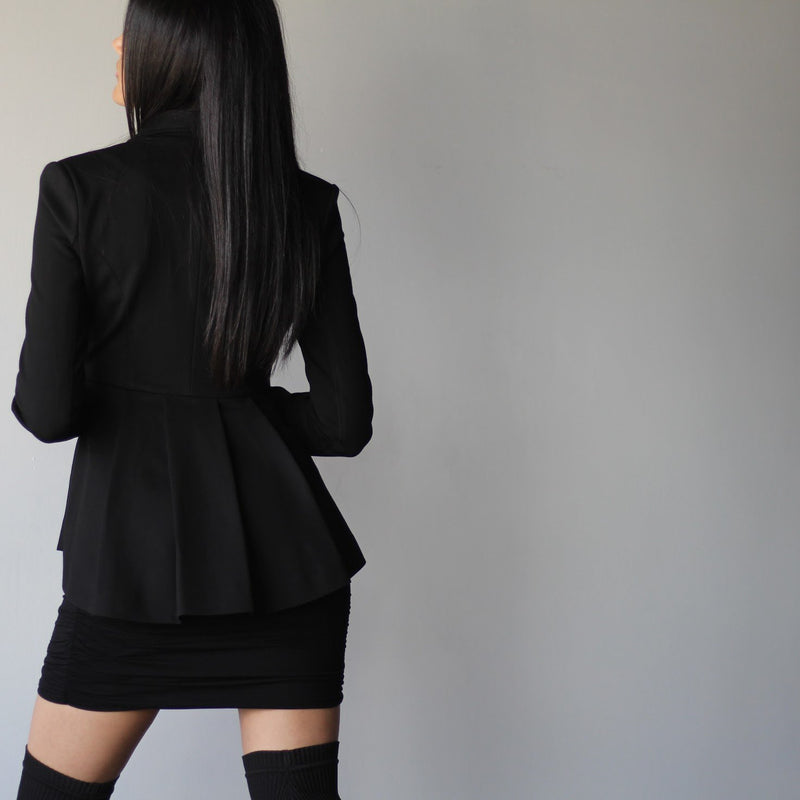 Women's Black Collared Hip Flare Pleated Jacket Back