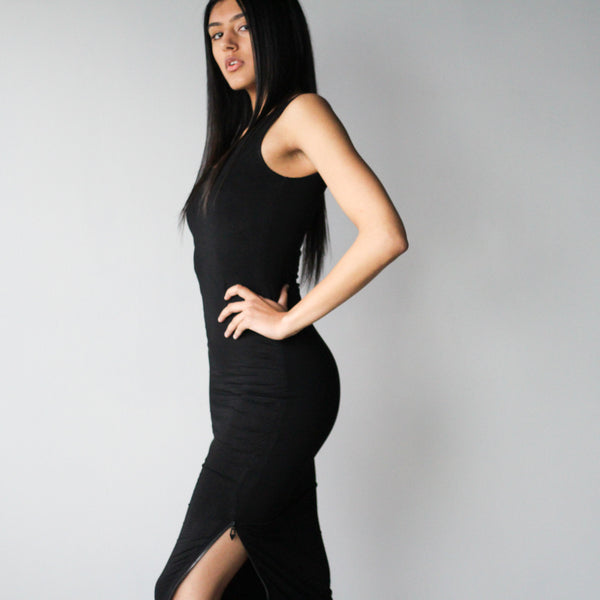 Double Layered Tank Maxi Bodycon With Zipper