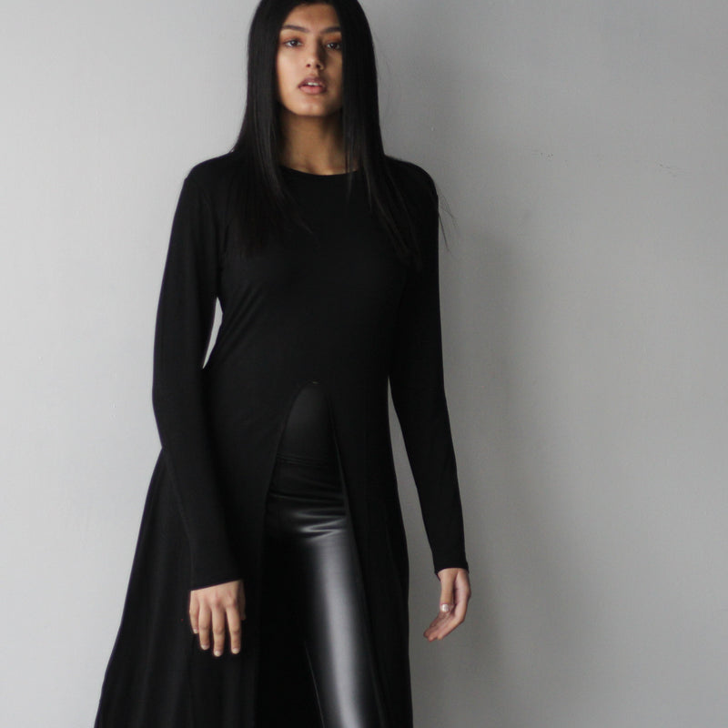 Women's Black Long-Sleeve Slit Shirt