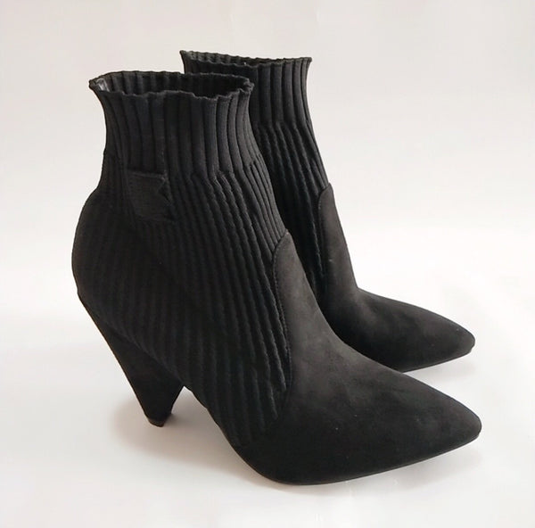Women's Black Heeled Stretch Knit Pointed Toe Ankle Boot