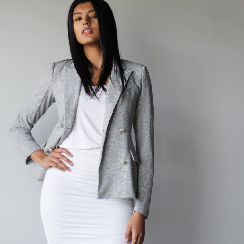 Women's Grey Double Breasted Fitted Blazer