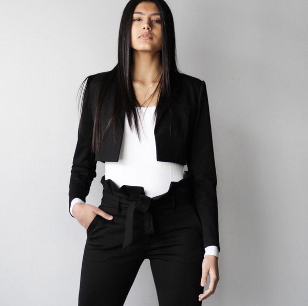 Ladies Black Cropped Blazer Jacket
