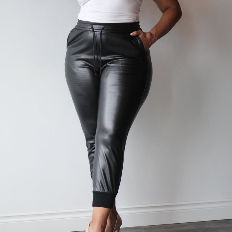 Ladies Adjustable Drawstring Pleather Vegan Leather  Joggers