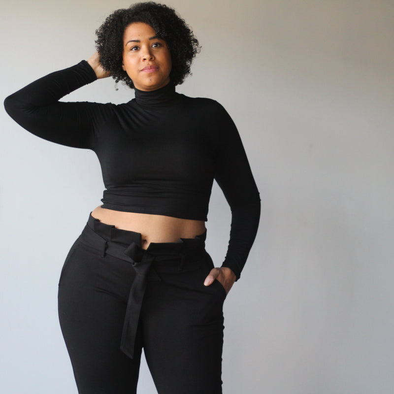 Long Sleeved Turtleneck Crop Top