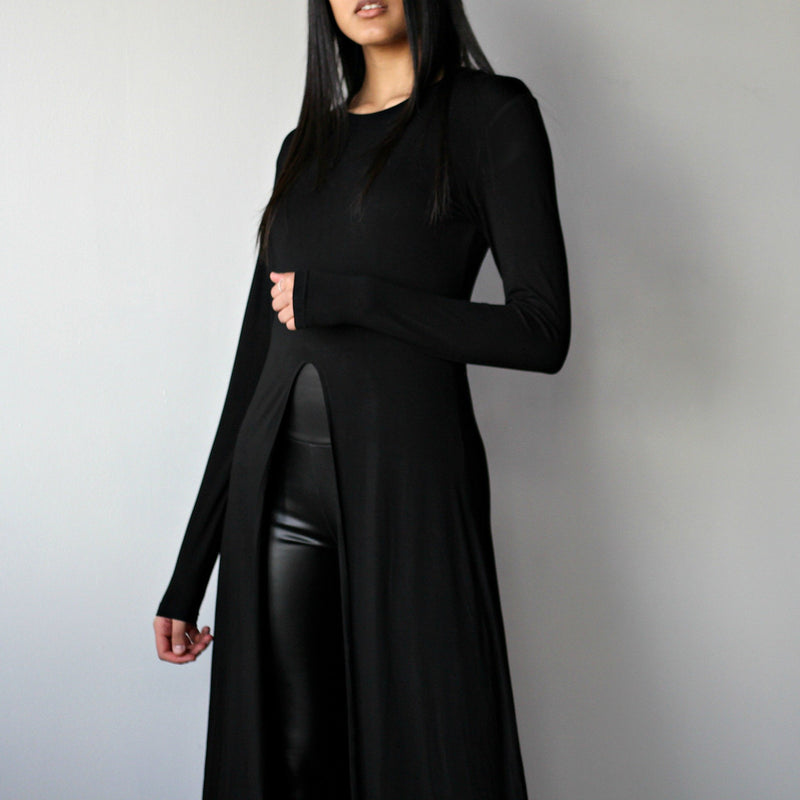 Women's Black Long Sleeved Front Slit Shirt