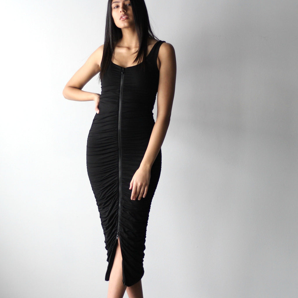 Ruched Zipper Bodycon