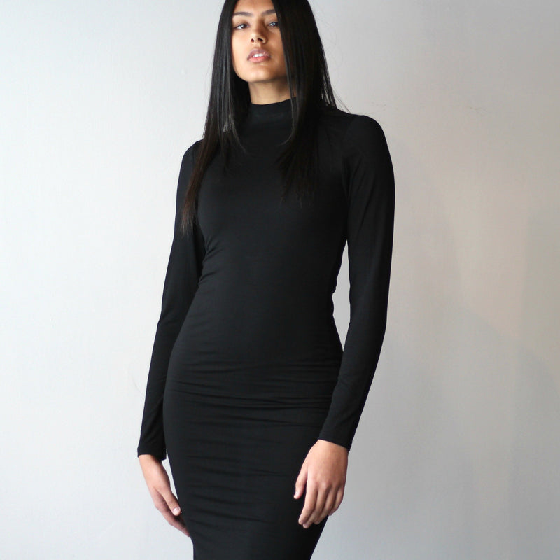 Double Layered Turtleneck Midi Bodycon Dress with Zippers