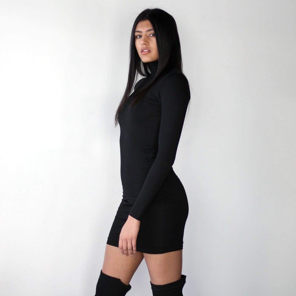 Double Layered Turtleneck Mini Bodycon