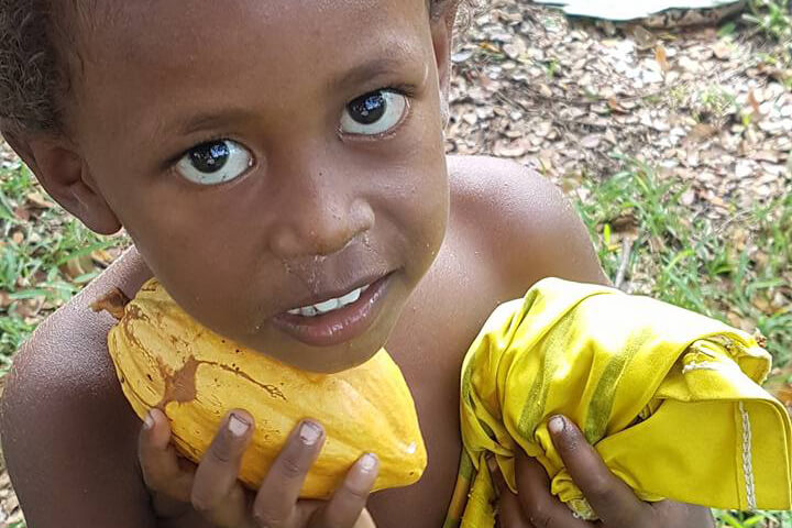 Ni-Vanuatu Child and Raw Cacao - Tamanu Australia