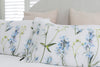 """Helen Bankers"" ""Linen Pillowcases"" ""Linen Slips"" ""floral"" ""floral art"" ""floral linen"" ""delphiniums"" ""fabric art"" ""homeware"" ""Bedding"" ""luxury linen"" ""artist"" ""100 pure Linen"" ""Blue flowers"""