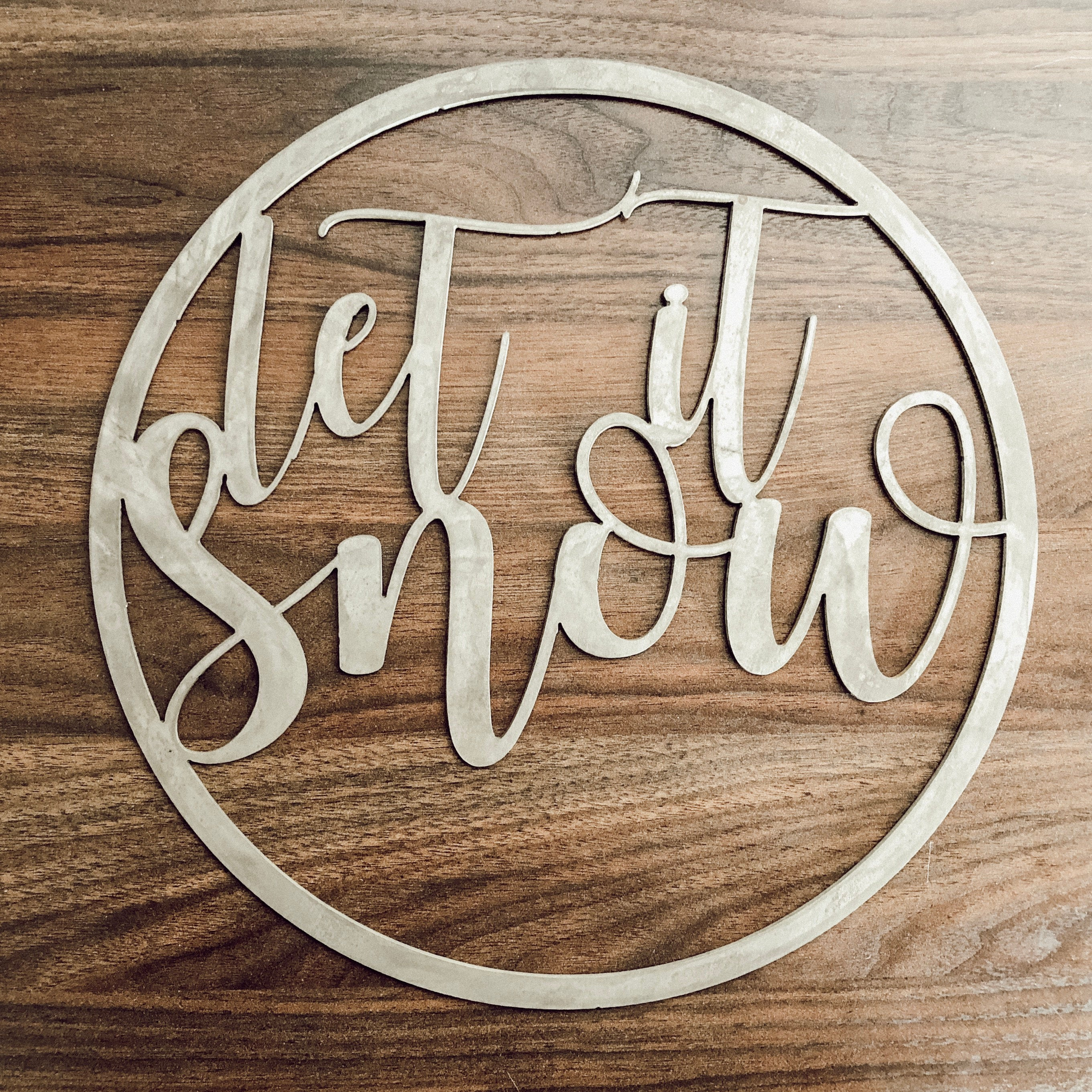 Let It Snow Metal Hoop Wreath Wall Art