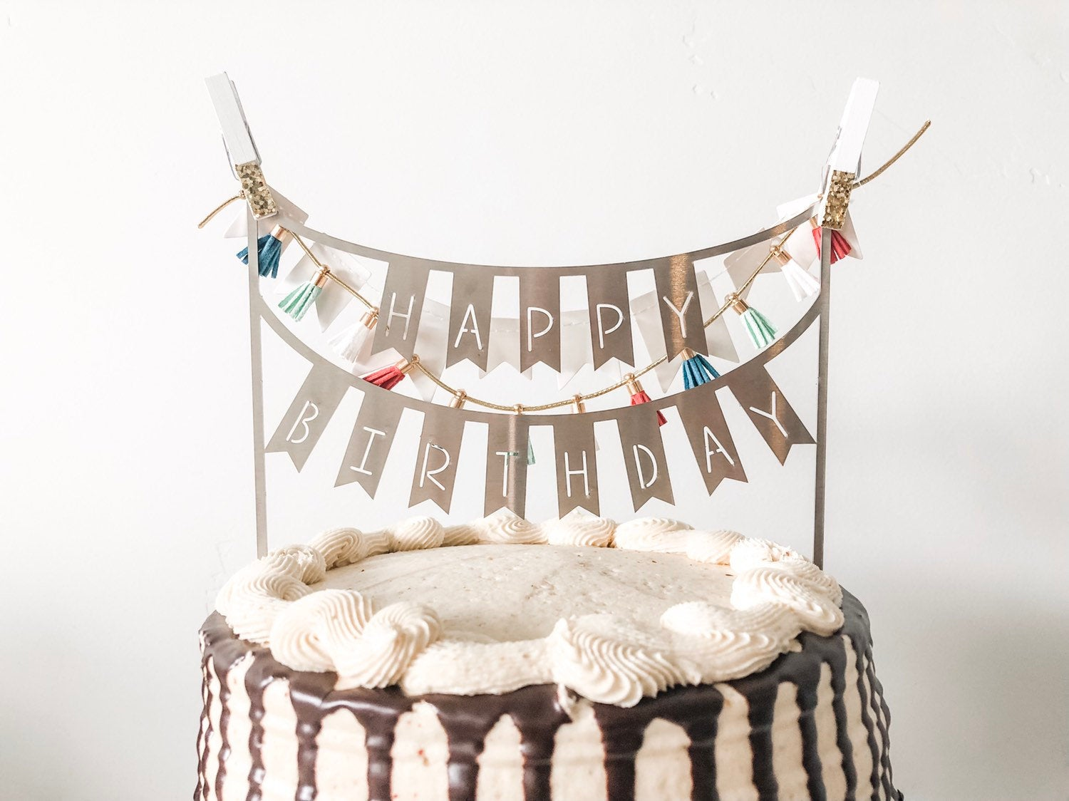 Bunting Happy Birthday Cake Topper