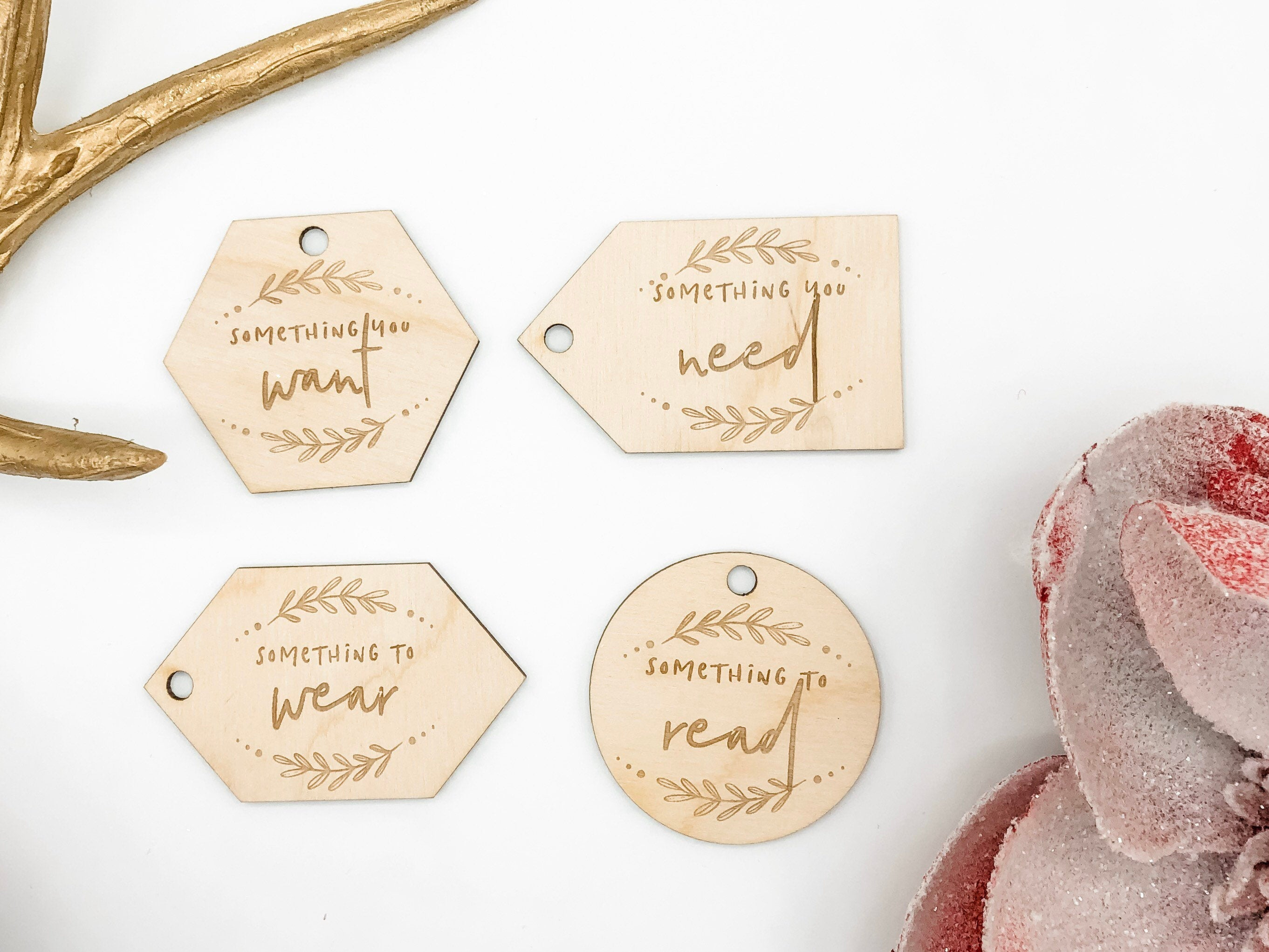 "Wooden ""Want, Need, Wear, Read"" reusable Chistmas Gift Tag Set // Multiple Style Options"